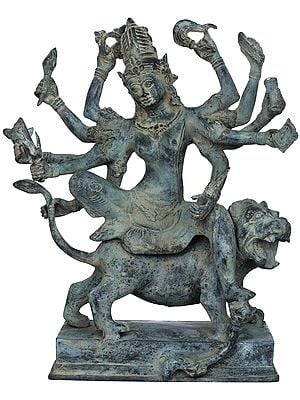 Ten-Armed Devi Durga Riding on Her Fierce Lion