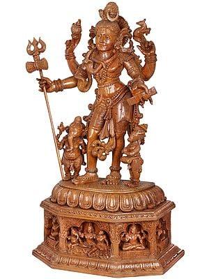 Superfine Pashupatinath on a Lavish Carved Base of Shiva Family