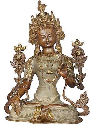 Padmasana White Tara In A Beige Robe