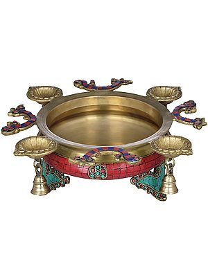 Inlay Urli with Attached Lamps and Bells