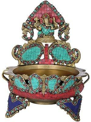 Inlay Urli with Ganesha Seated Atop