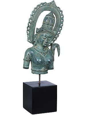 Goddess Parvati Bust on Wooden Stand