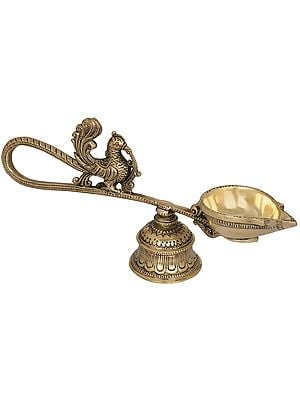Handheld Peacock Aarti with Attached Bell as Stand