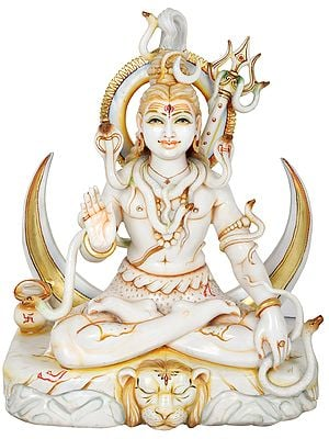 Marvellous Chandra Shiva Adorned with Serpents