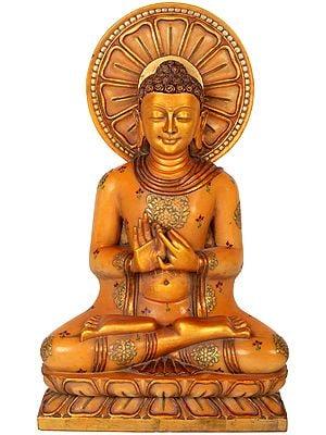 Tibetan Buddhist Golden Lord Buddha in Dharmachakra Mudra
