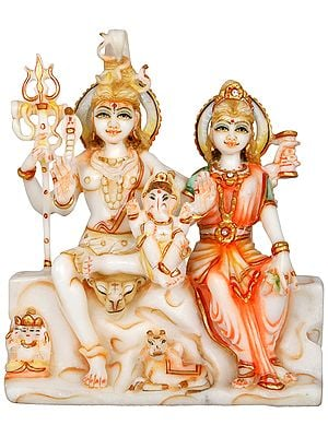 Shiva Family Carved in Marble