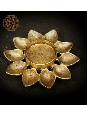 Diya and Candle Stand with Ten Wicks Lamp Base