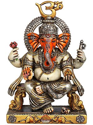 Ganesha Seated on OM Throne