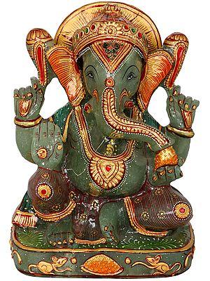 Ganesha Carved in Green Aventurine Jade