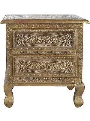 Decorated Table with Two Drawers