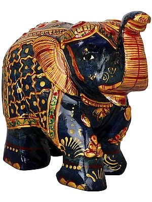 Decorated Elephant Carved in Lapis Lazuli