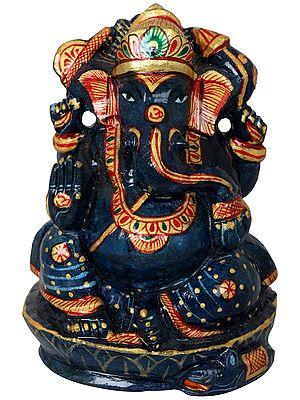 Small Ganesha Murti Carved in Lapis Lazuli