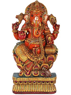 Bhagawan Ganesha Seated on Lotus (Large Size)