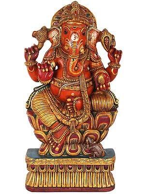 Bhagawan Ganesha Seated on Lotus (Large Size)
