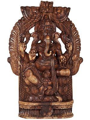 Lord Ganesha Seated In Lalitasana - Large Size