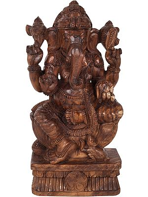 Lord Ganesha Seated on Lotus Pedestal