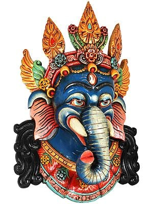 Trinetra Ganesha Wall Hanging Mask - Made in Nepal