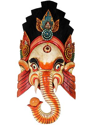 Wrathful Ganesha Wall Hanging Mask (Made in Nepal)