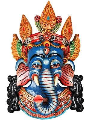 Crowned Ganesha Mask - Wall Hanging From Nepal
