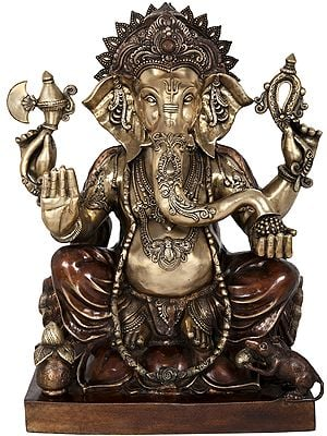 Large Size Blessing Ganesha in Dual-Tone Seated on Lotus