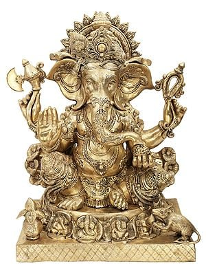 Large Size Blessing Ganesha Seated on Ashta-Ganesha Base