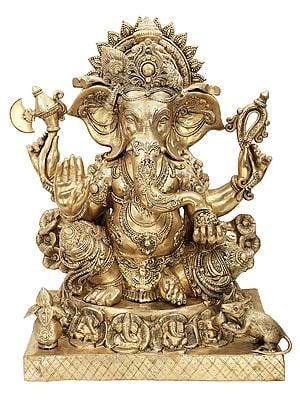 Large Size Blessing Ganesha Seated on Ashta-Ganesha Base