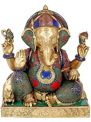 Lord Ganesha Decorated with Inlay Work