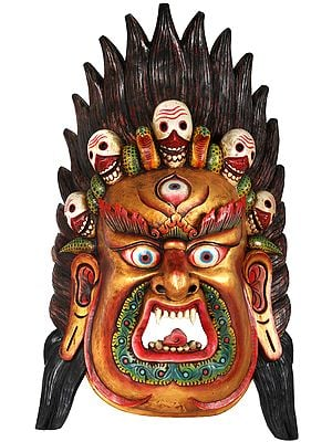 Large Wrathful Mahakala Mask - Tibetan Buddhist Wall Hanging from Nepal