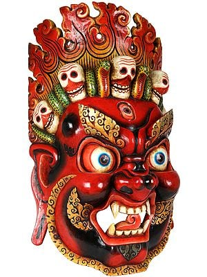 Tibetan Buddhist Large Wall Hanging Mahakala Mask - Made in Nepal