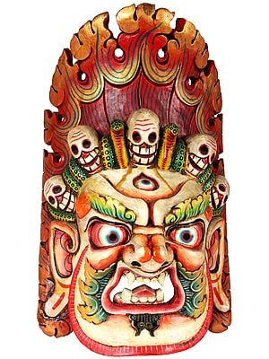 Tibetan Buddhist Mahakala Mask From Nepal (Wall Hanging)