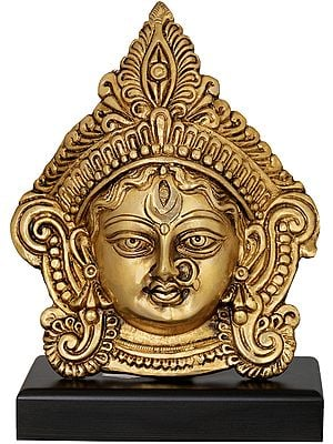 Devi Durga Face on Wooden Stand