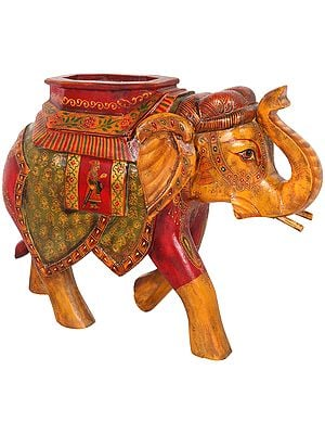 Elephant Decorated with Auspicious Symbols on Overcloth