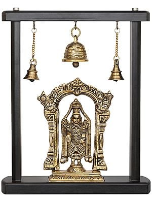 Tirupati Balaji in Wooden Frame Stand with Bells