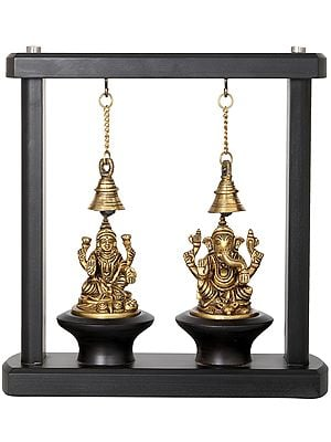 Lakshmi Ganesha in Wooden Frame with Bells