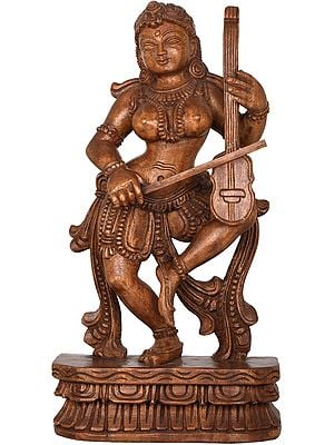 Dancing Apsara Playing a Violin