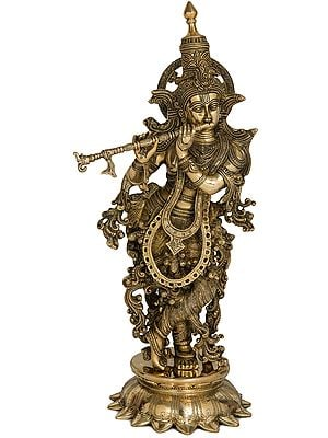 Superbly Adorned Lord Krishna on Lotus Pedestal