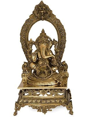 Lord Ganesha Seated on Prabhawali Throne