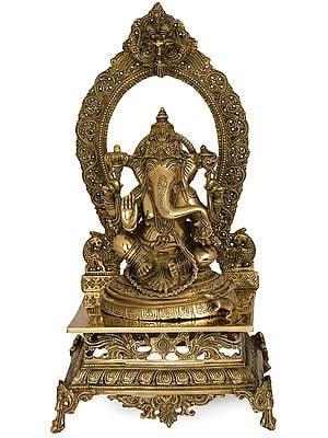 Lord Ganesha Seated on Prabhawali Throne