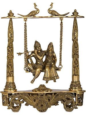 Radha Krishna on Peacock Swing
