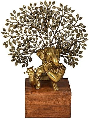 Stylized Ganesha Playing Flute Against the Backdrop of a Tree