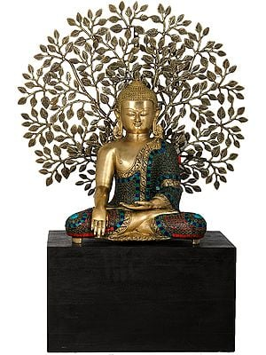 Bhumisparsha Buddha Seated on Wooden Base with Elaborate Bodhi Tree