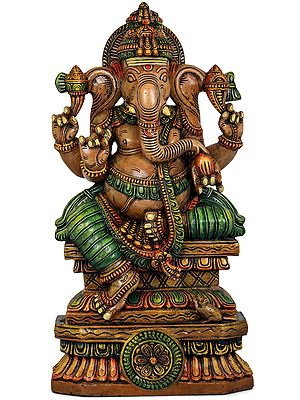 Ganesha Seated on High Lotus Pedestal