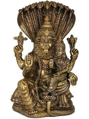 Fine Quality Narasimha with Lakshmi (The fourth Avatar of Lord Vishnu)