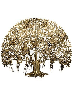 Splendid Tree of Life with Perched Birds and Root Stand