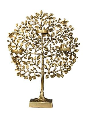 Three Wax Diyas Holder Tree of Life on Stand