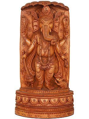 Mace Holding Ganesha Standing under Sheshanaga (Fine Quality)