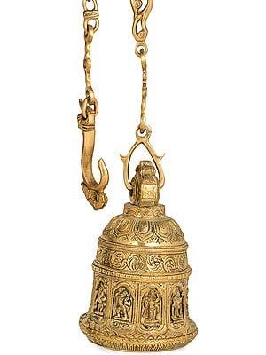 Dashavatara of Vishnu Temple Bell with Long Chain