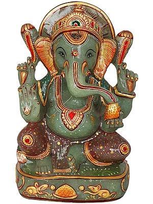 Blessing Ganesha Carved in Green Aventurine Jade