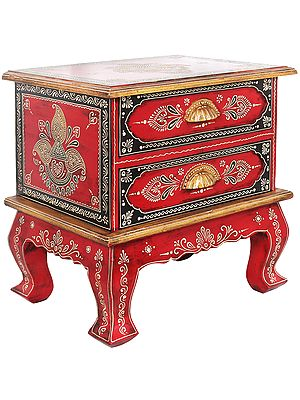 Colorfully Decorated Wooden Table with Drawers