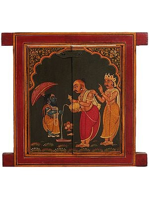 Jharokha (Window) Painted with King Bali Pledging Himself to Vamana Avatar of Vishnu